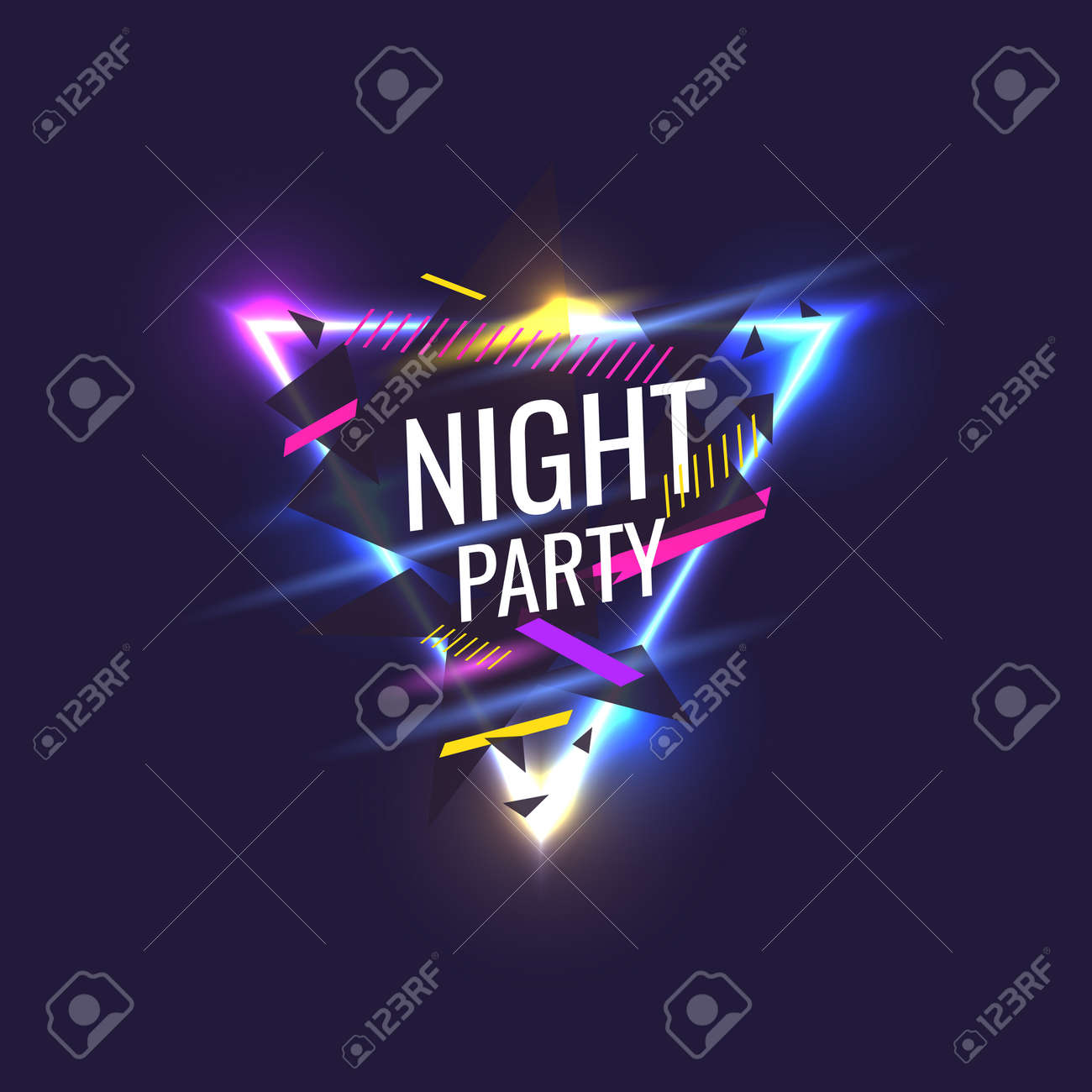 Original Poster For Night Party Geometric Shapes And Neon Glow