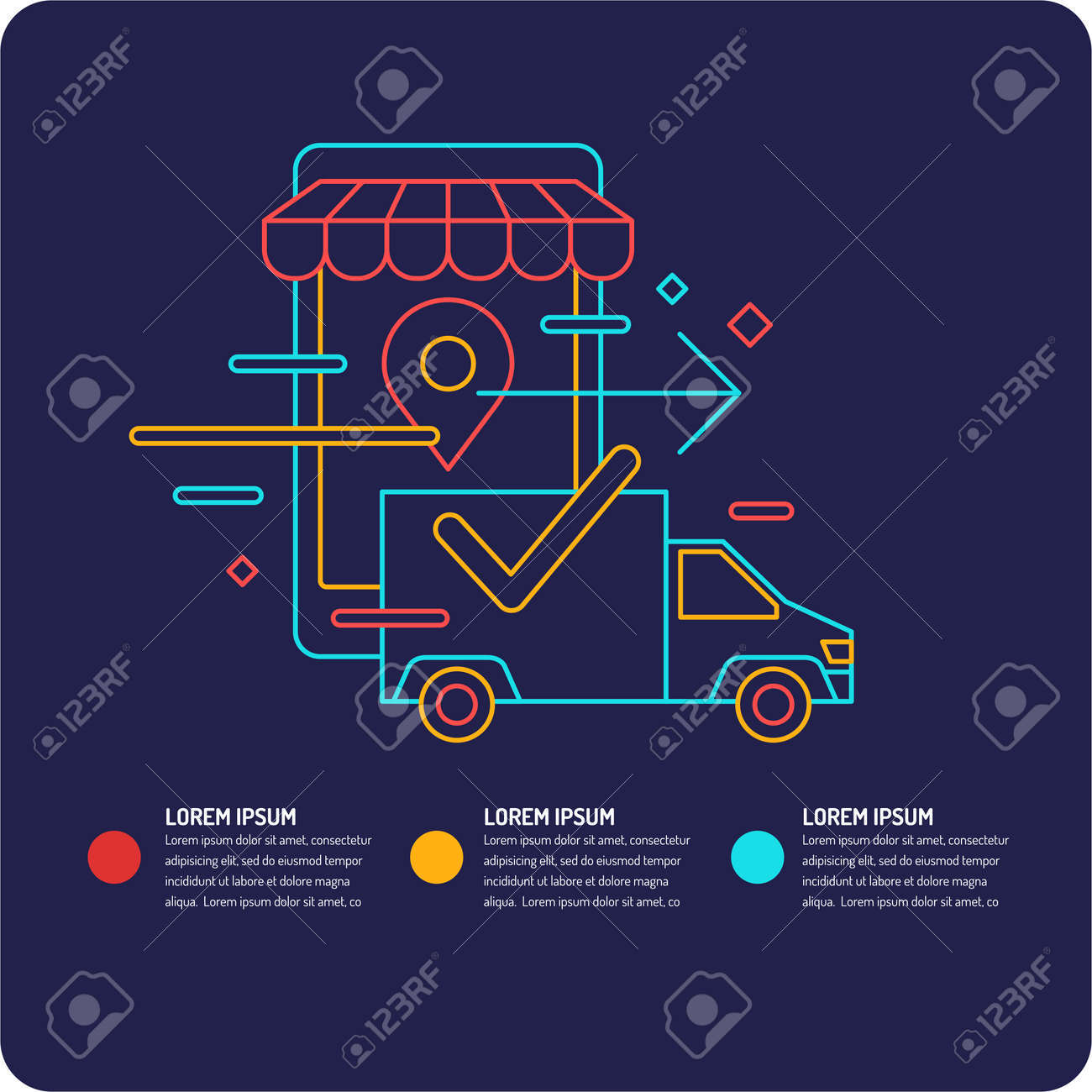 343ca0c260f083 Vector - Vector illustration of the best selling different products. Poster  delivery of goods.