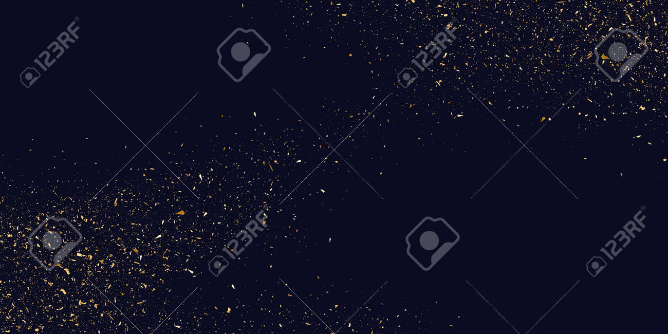Gold glitter. Shiny particles on a dark background. Vector illustration - 124459752