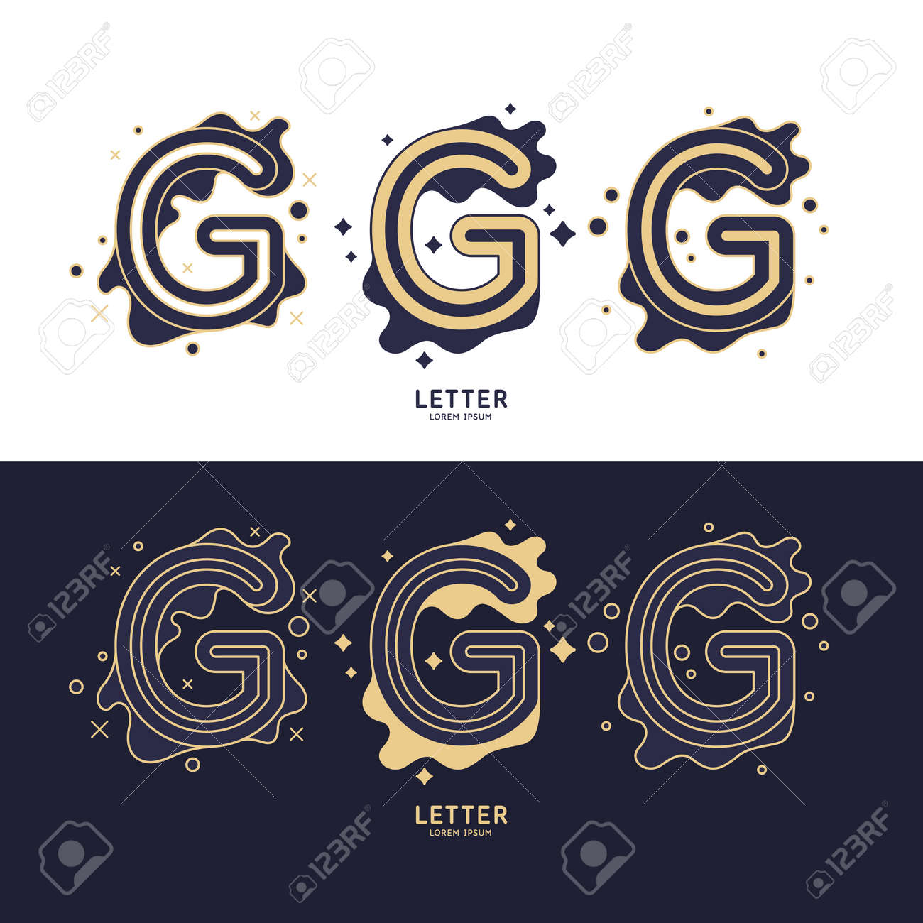 The letter G of the Latin alphabet. Display character in a contemporary style. A sign with dynamic splashes. - 155429171