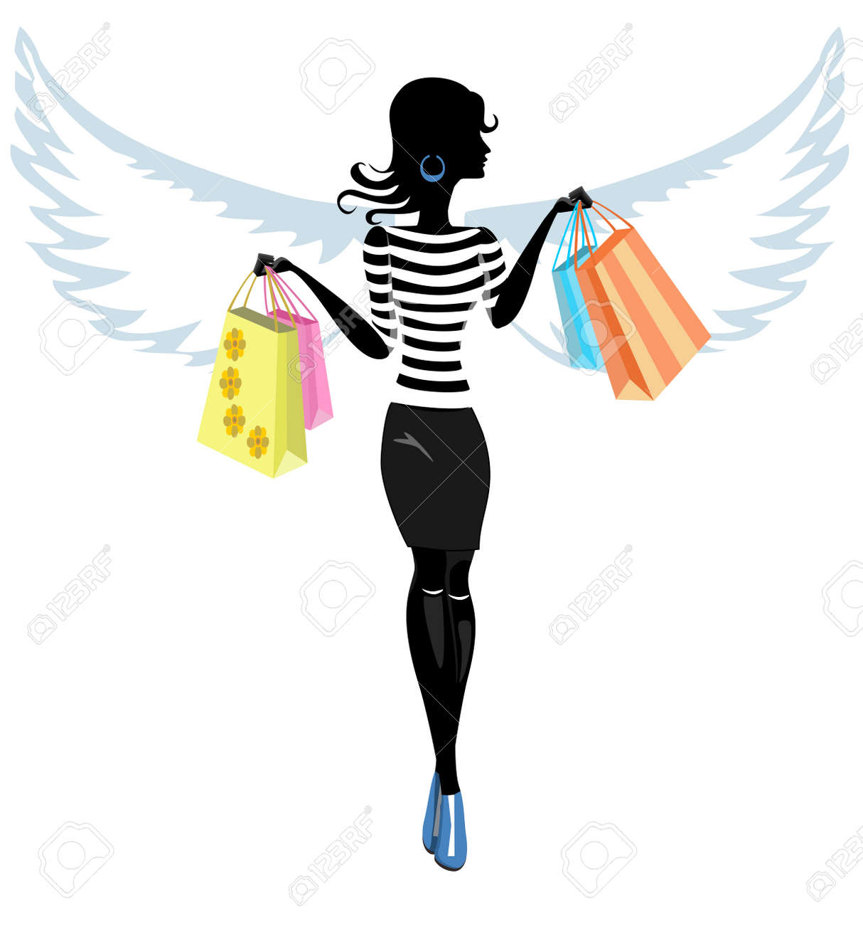 b62af02e47e7 Silhouette of a Pretty Young Woman Angel with the Purchase go to Shopping  Illustration Stock Vector