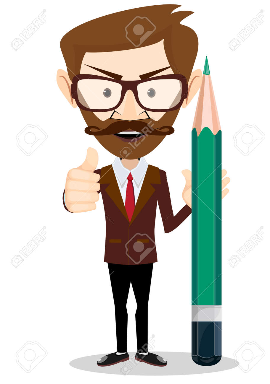 男、鉛筆で、それは兆候を示して...