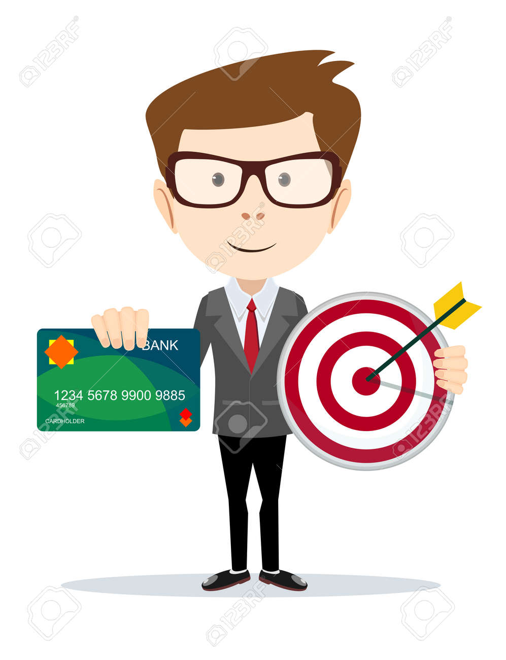 Man Holding A Credit Card And The Target Royalty Free Cliparts ...