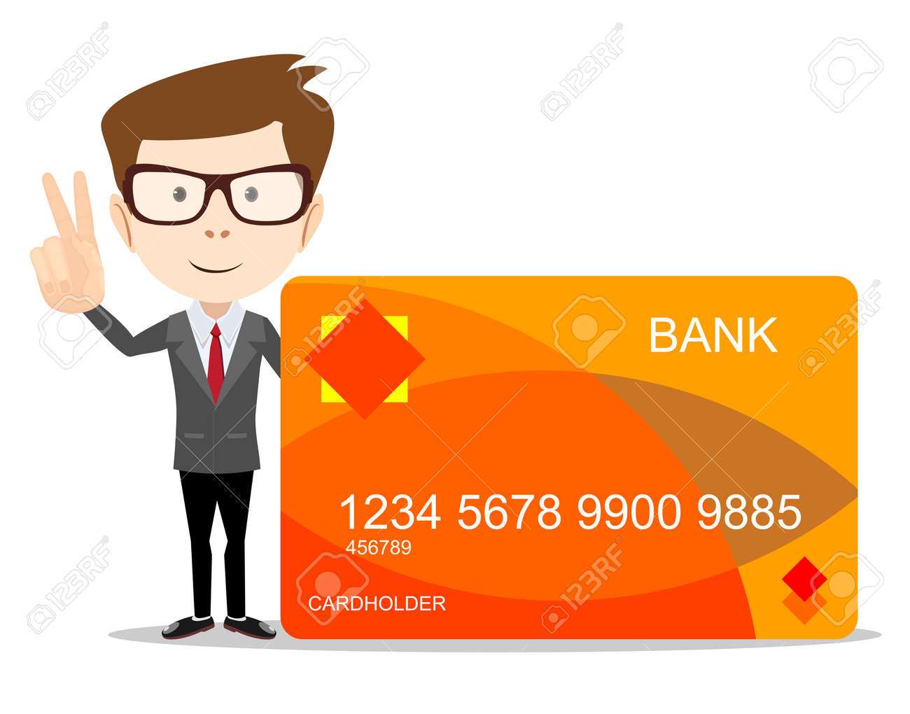 Funny Cartoon Casual Man With Credit Card For Use In Advertising ...