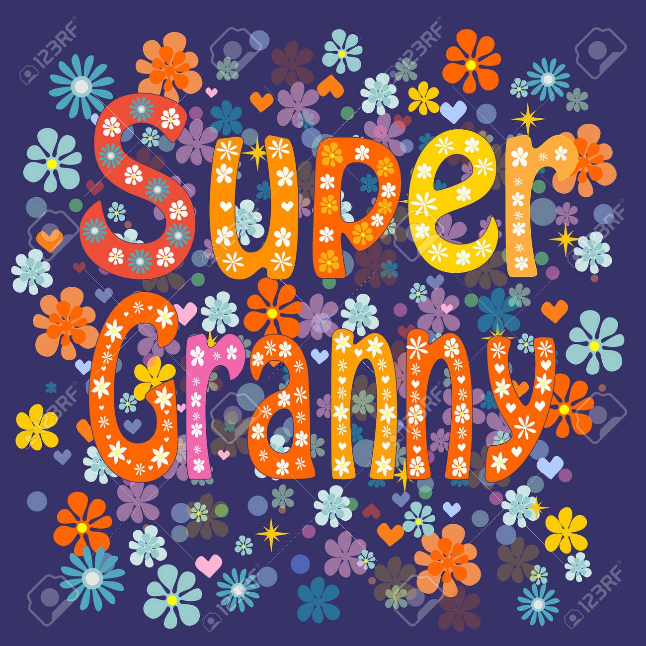 Super grandma cartoon old lady in an apron and a superhero cape - 49125169