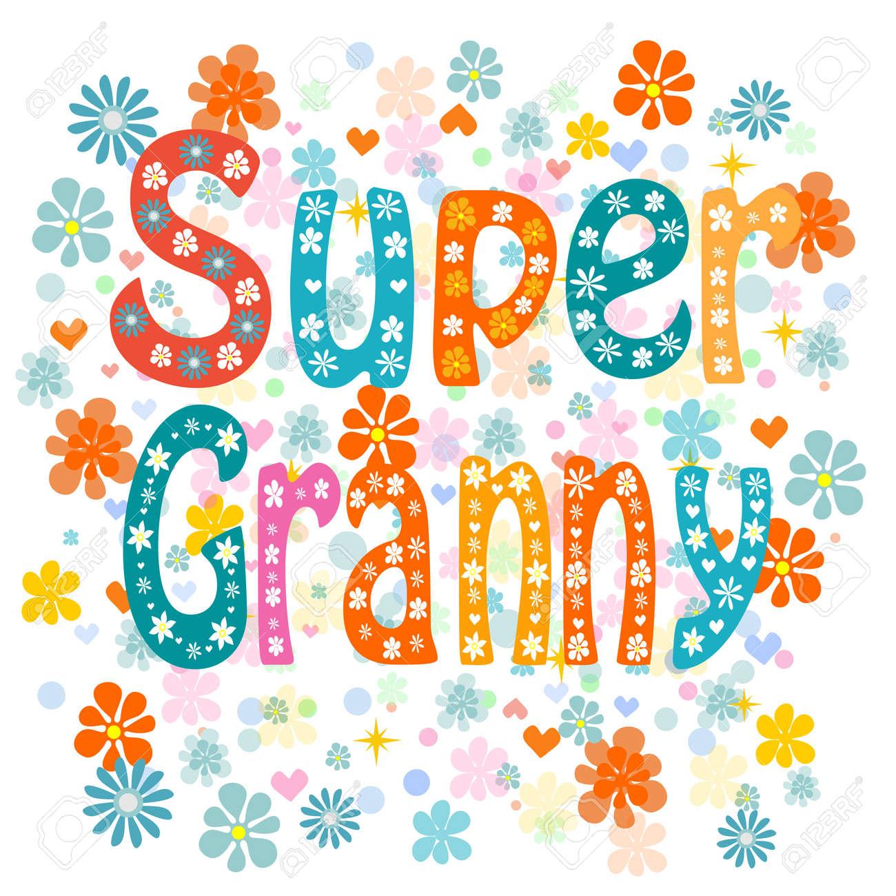 Super granny, cartoon old lady in an apron and a superhero cape, no transparencies. Vector - 49982277
