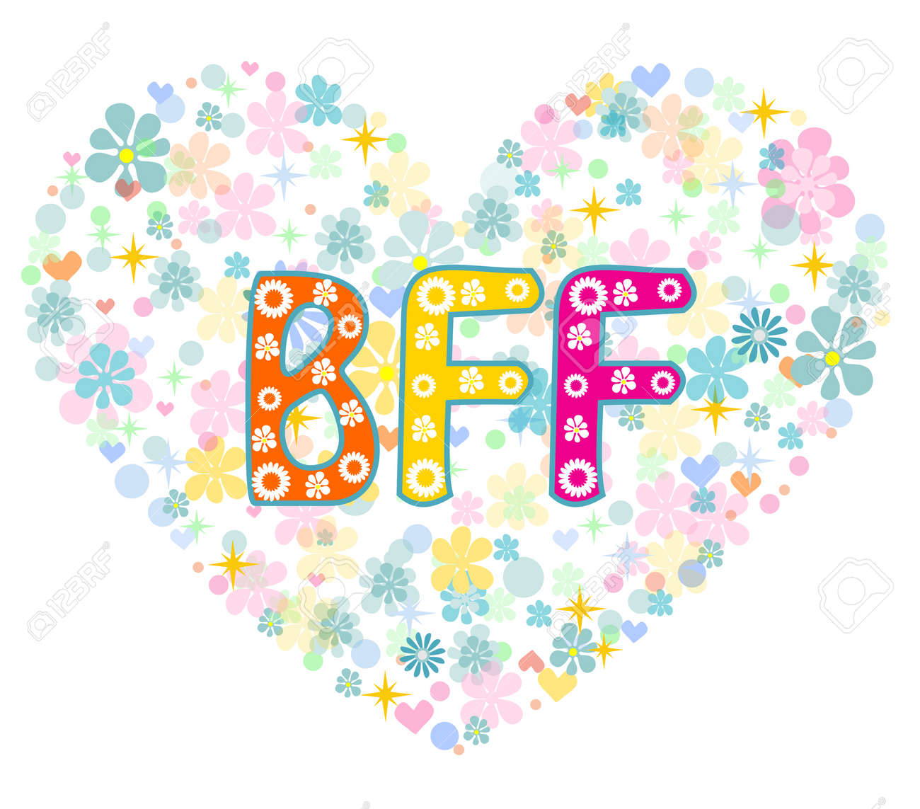Bff best friends forever heart shaped type lettering vector best friends forever heart shaped type lettering vector design greeting card stock m4hsunfo