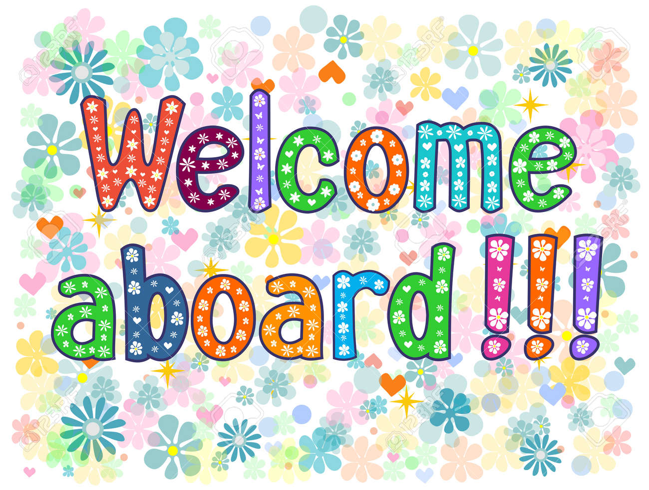 Welcome Aboard Typography Lettering Decorative Text T Shirt