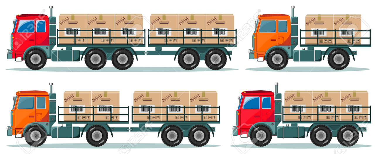 delivery service trucks with boxes. Stock illustration - 66539561