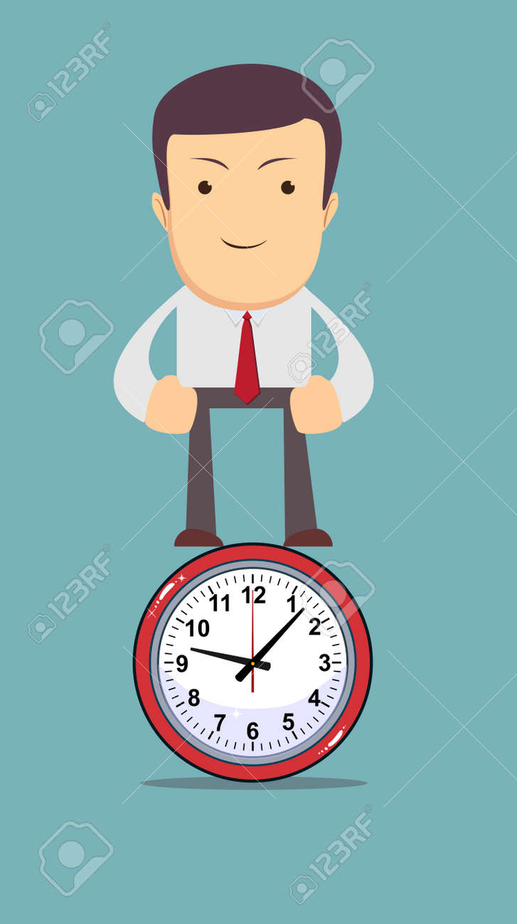 Funny Cartoon Office Worker Man Stands On The Clock As Symbol Royalty Free Cliparts Vectors And Stock Illustration Image 67429938