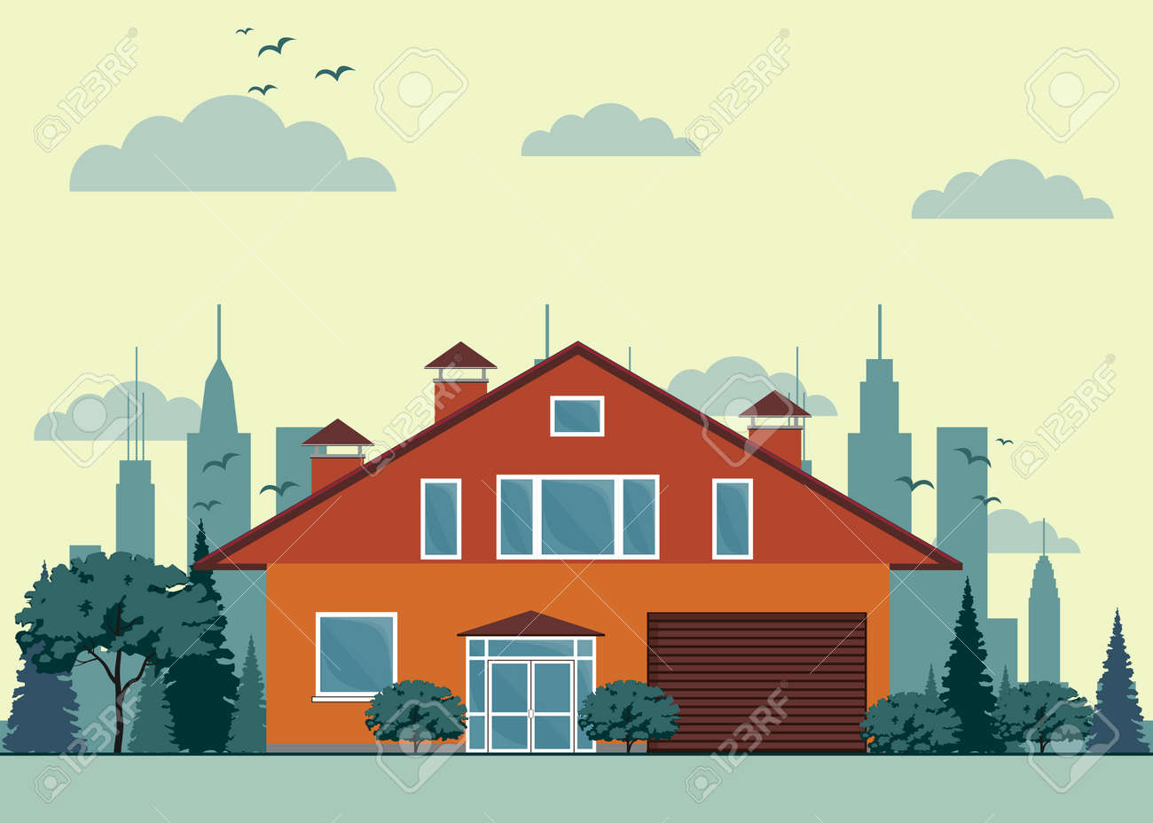 Vorstadthaus, Häuschen Mit Garten Auf Hintergrund. Immobilien ...