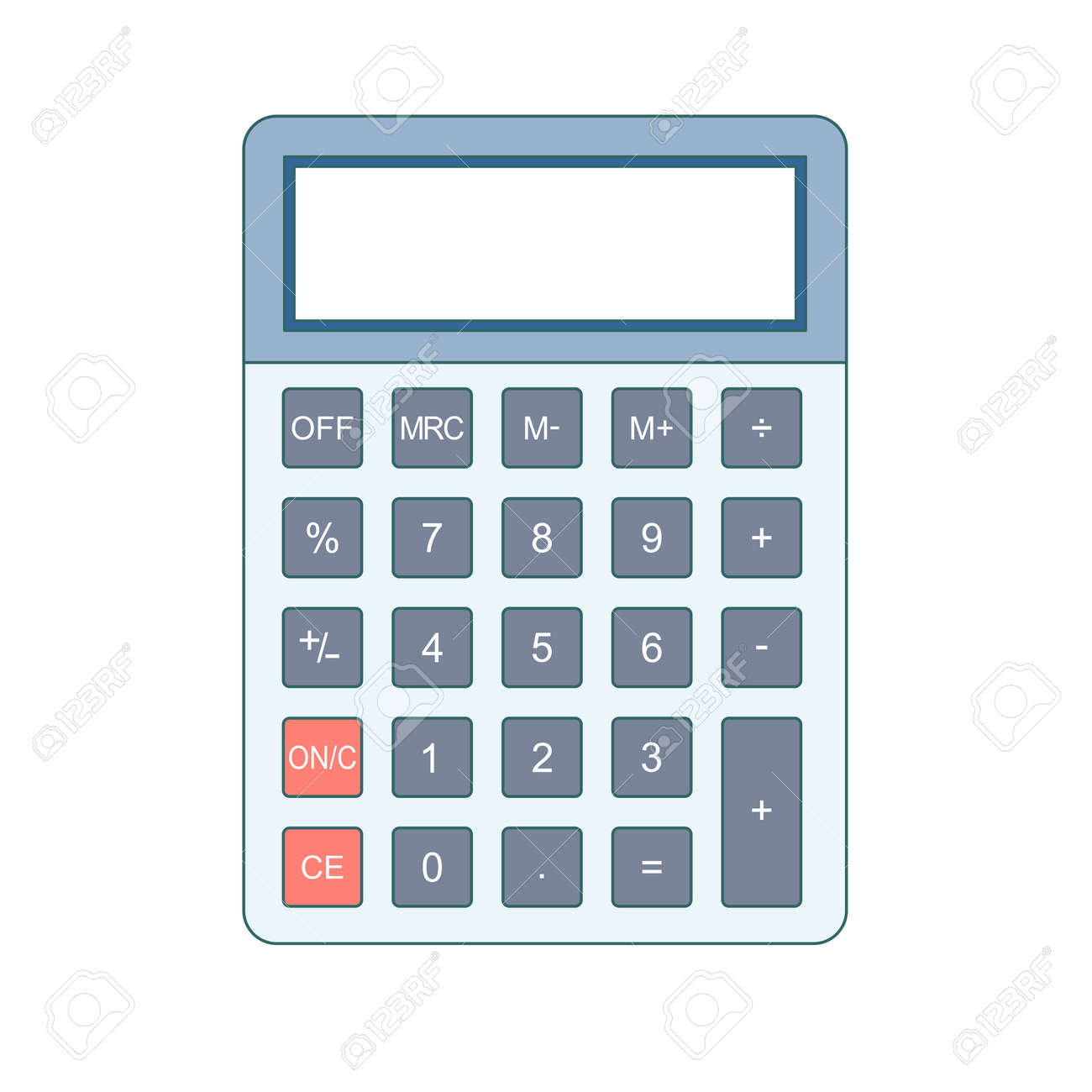 Calculator icon in flat style  Calculator isolated on a colored