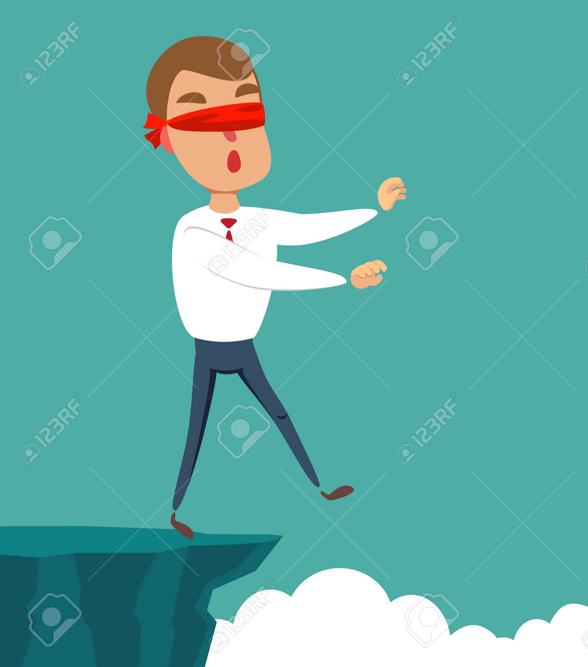 blindfolded businessman walk to the cliff. Business concept. - 137338702