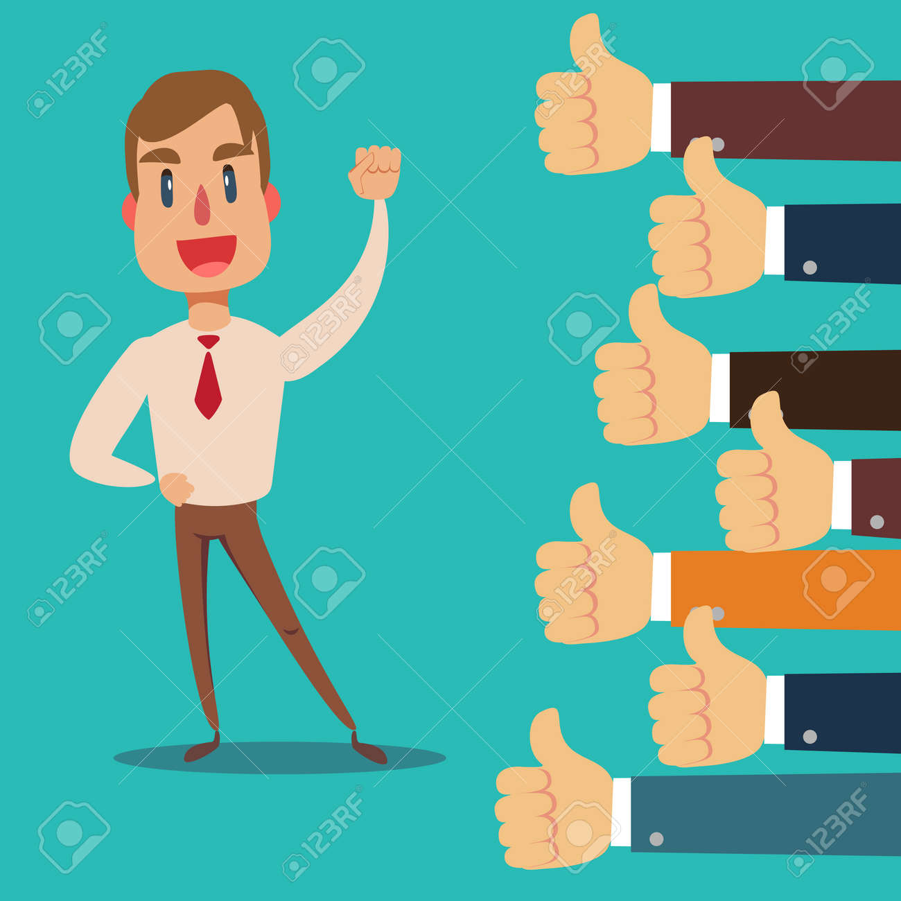 Happy and proud businessman with many thumbs up hands around him. - 142193746