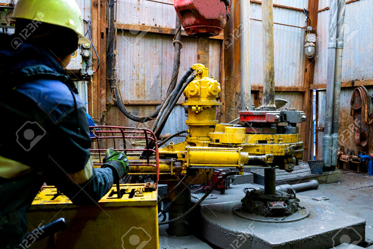 Offshore oil rig worker prepare tool and equipment for perforation