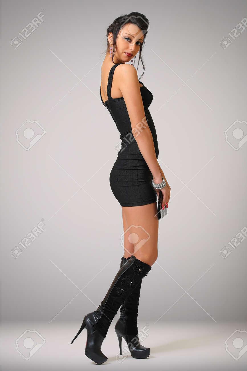 da921f85721 Beautiful Sexy Woman In Tight Black Dress Stock Photo, Picture And ...