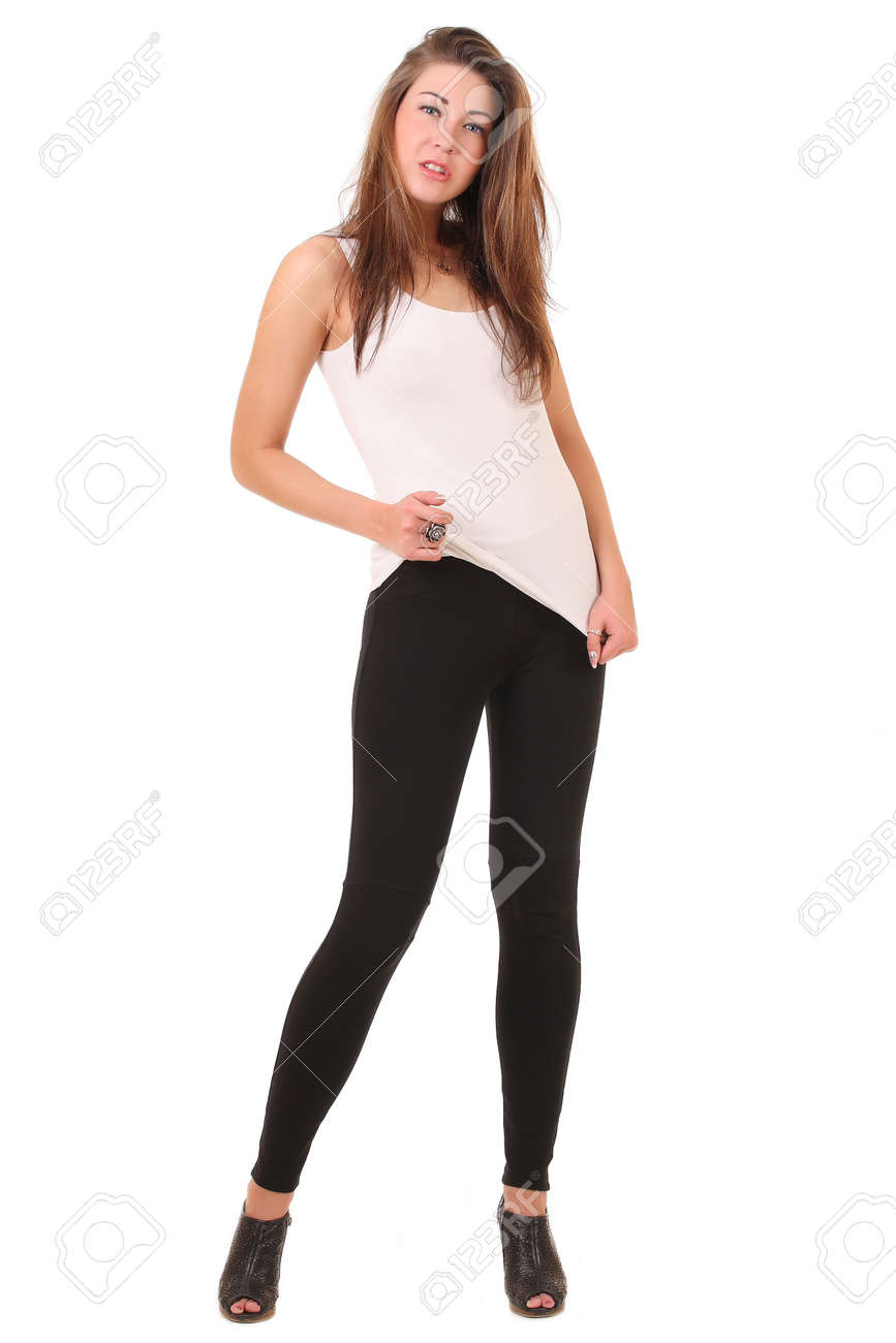 Girl In A White T-shirt And Leggings Stock Photo, Picture And ...