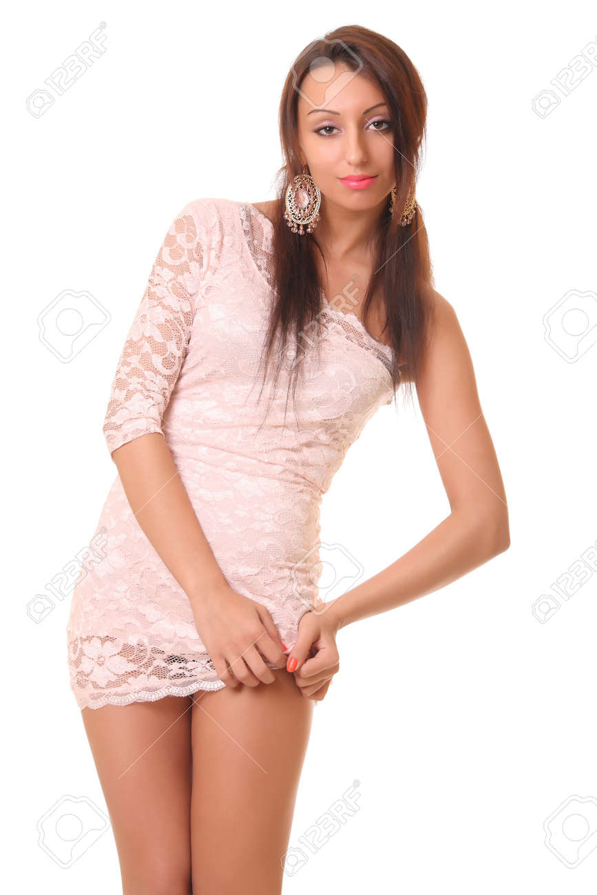 Sexy Girl In Pink Short Dress Isolated On White Stock Photo 16444285