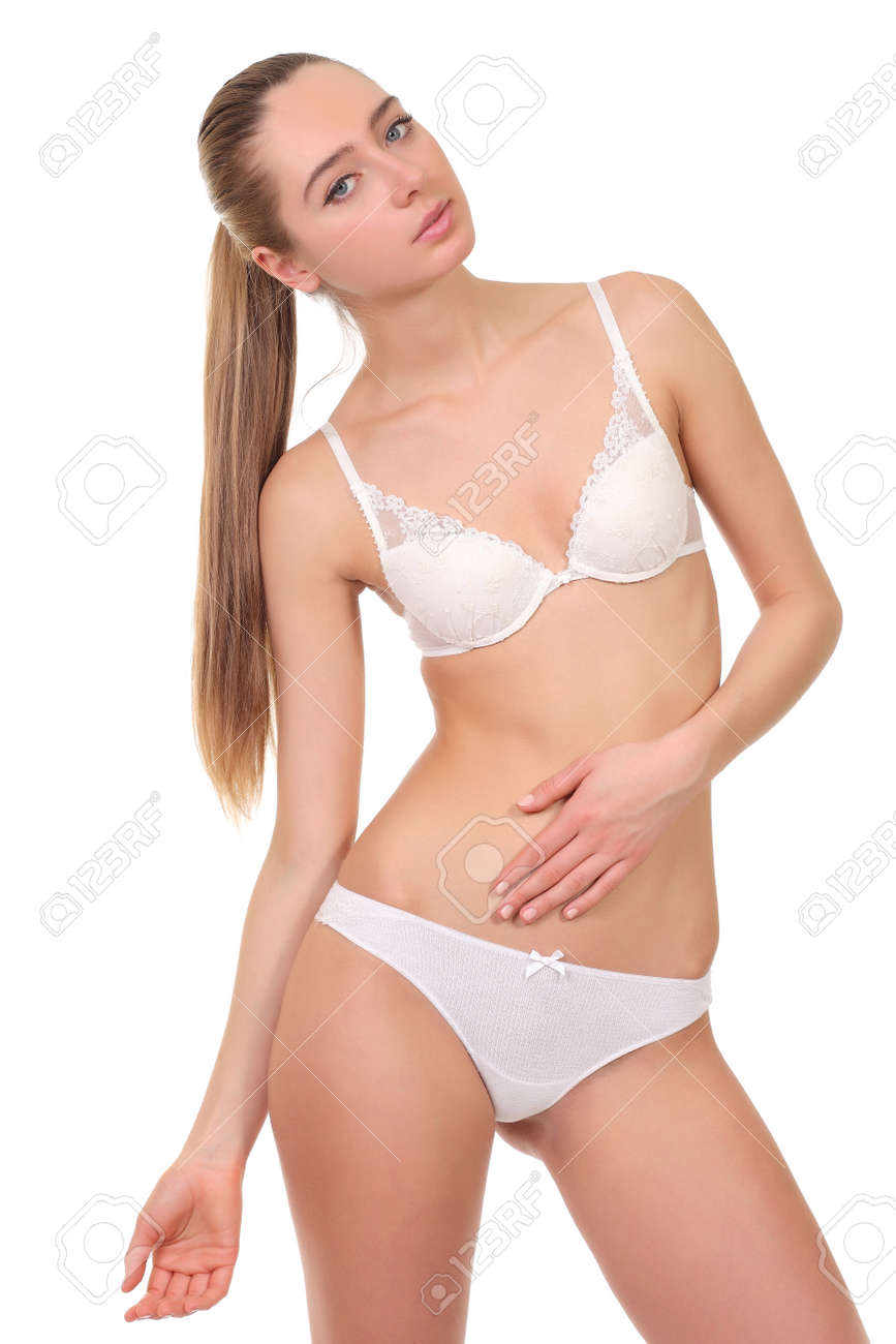 young girl underware Stock Photo - beautiful young girl in white underwear isolated on white background