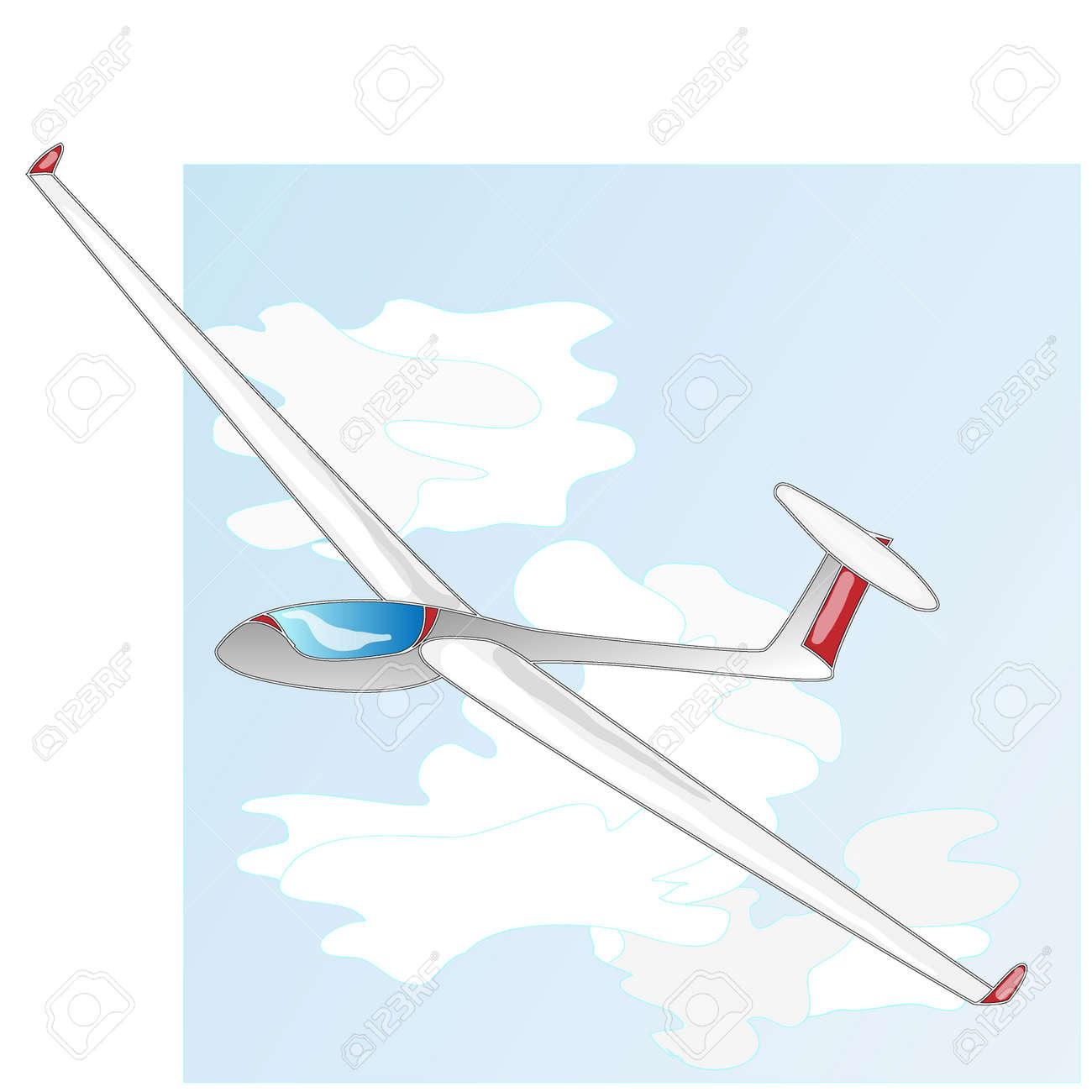 glider sailplane illustration isolated on sky background royalty