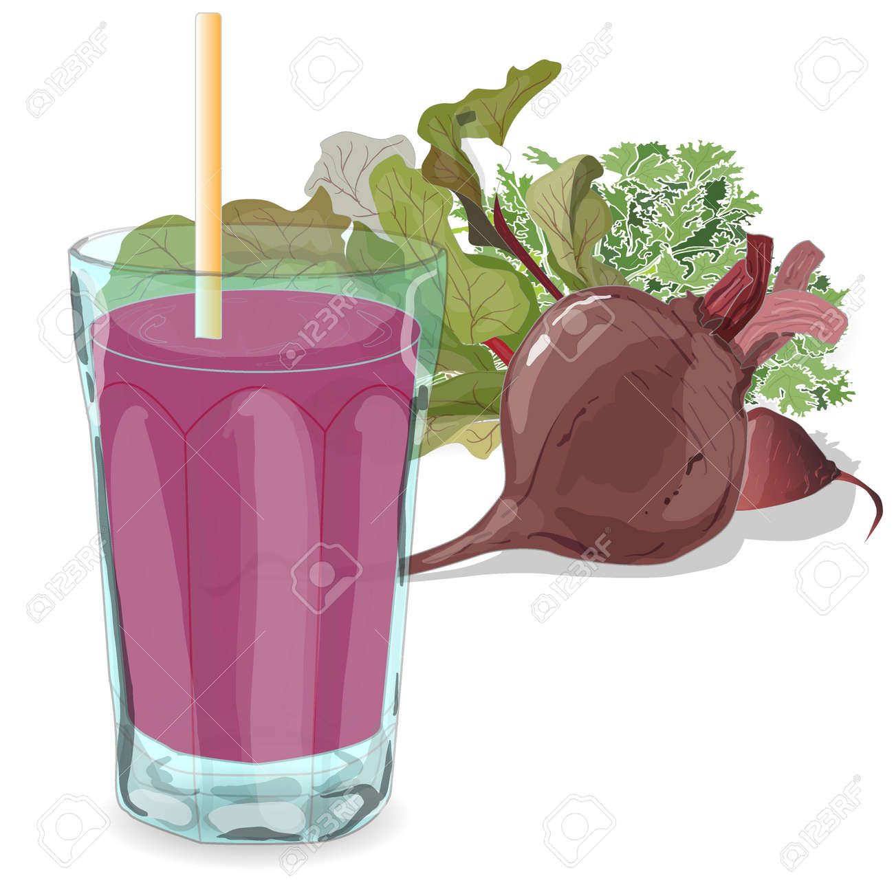 Fresh beetroot isolated on white. Vector. Juice glass. - 60482590