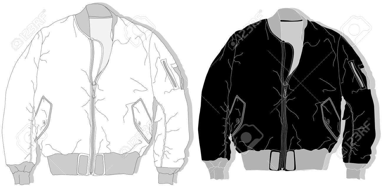 Pilot Jacket Bomber Vector Illustration Royalty Free Cliparts