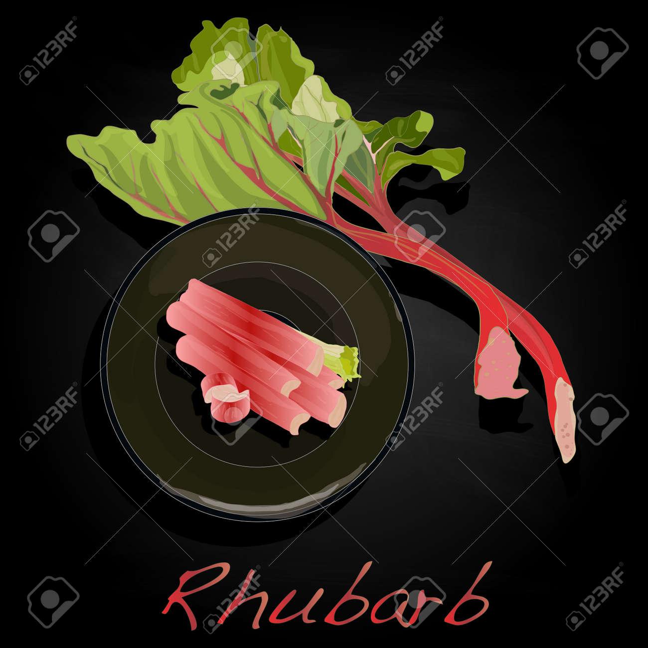 fresh rhubarb isolated on black vector - 81185326