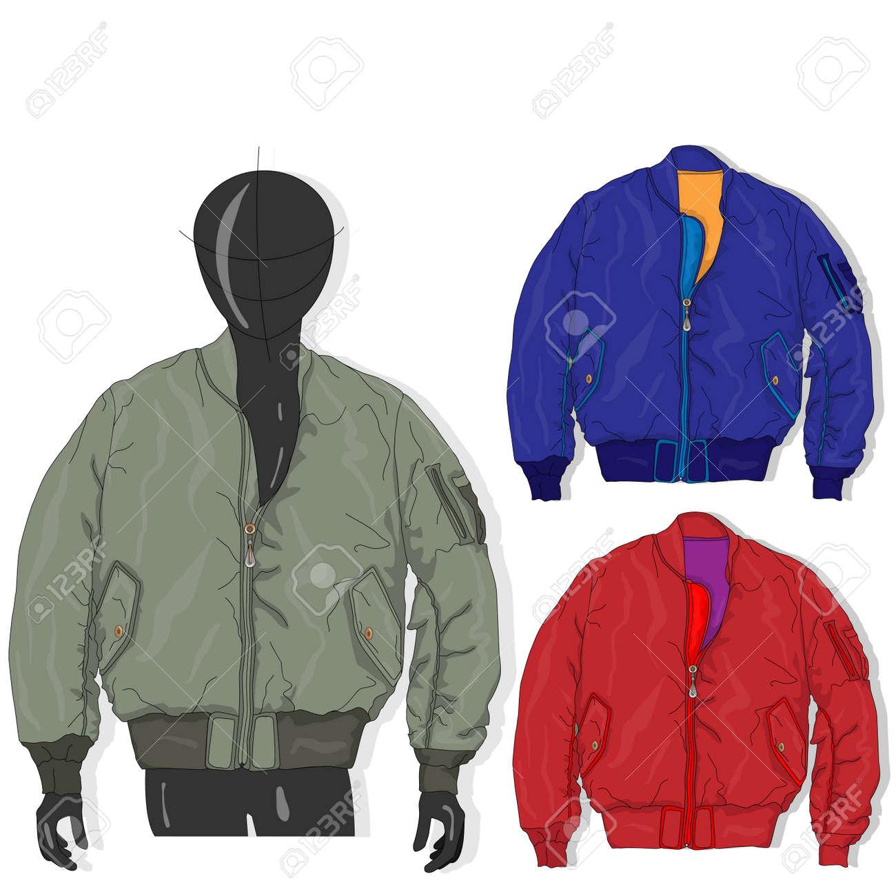 Pilot jacket. Bomber. Vector illustration. Men clothes collection. - 124529892