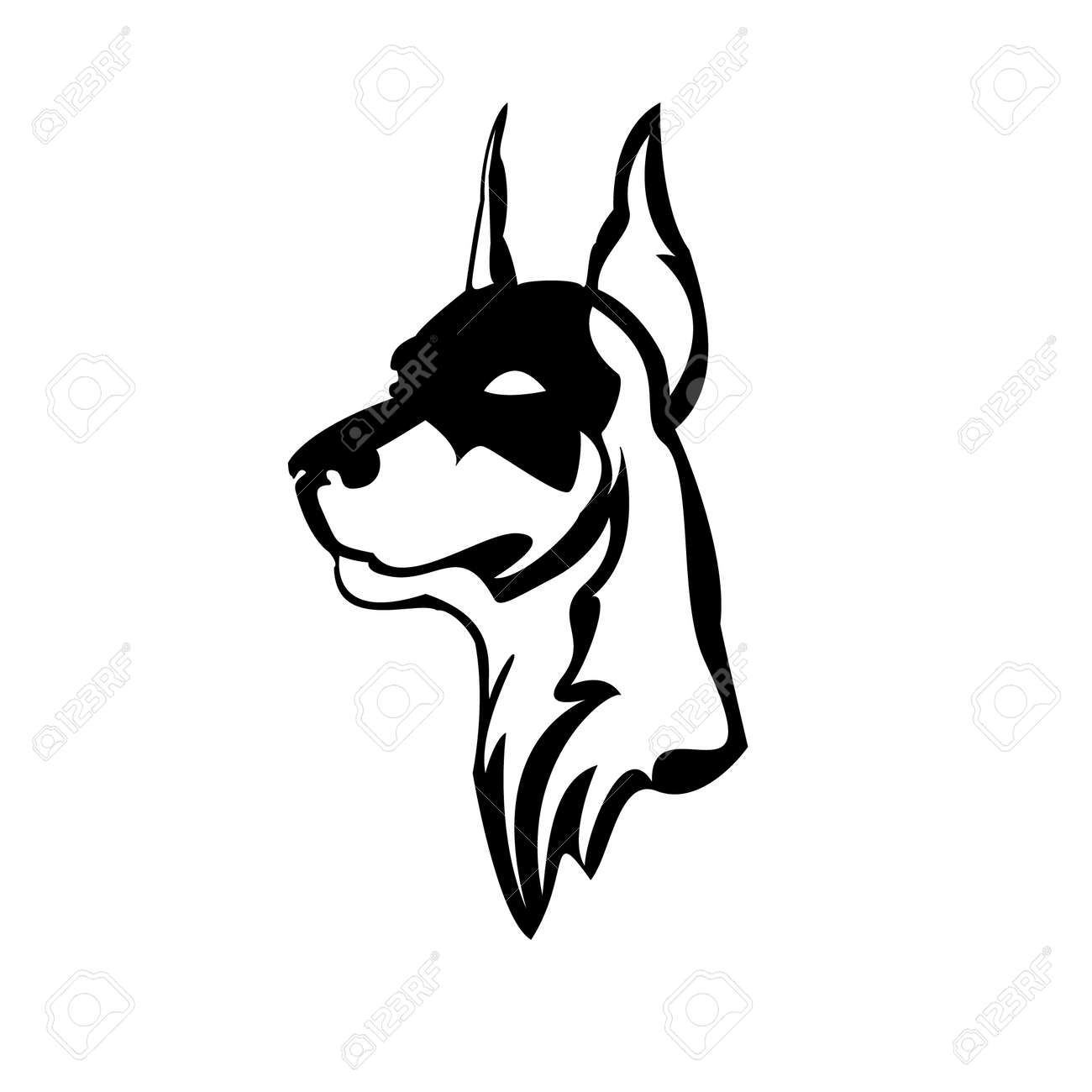 vector illustration of doberman head stock vector 22278822