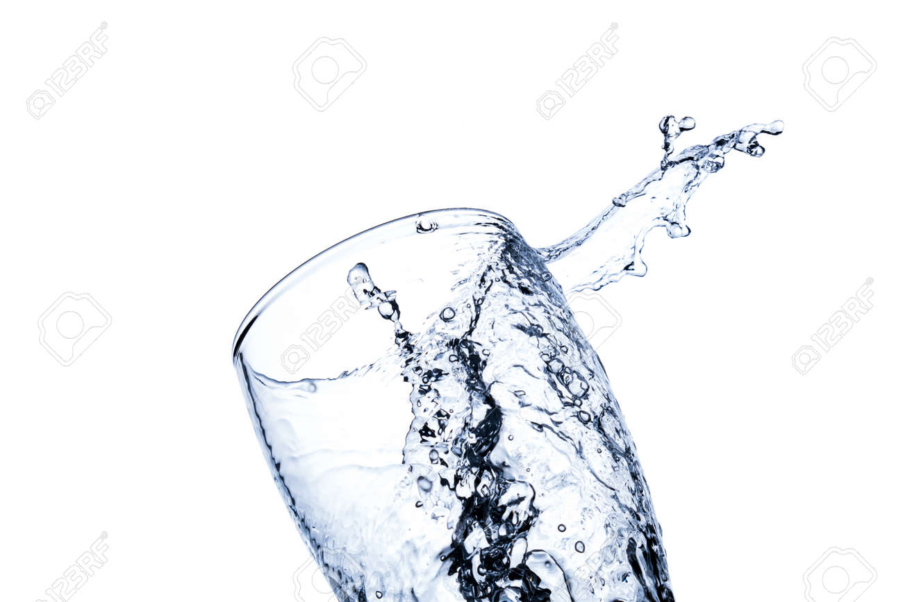 Water splashes in a transparent glass isolated on a white background - 152537123