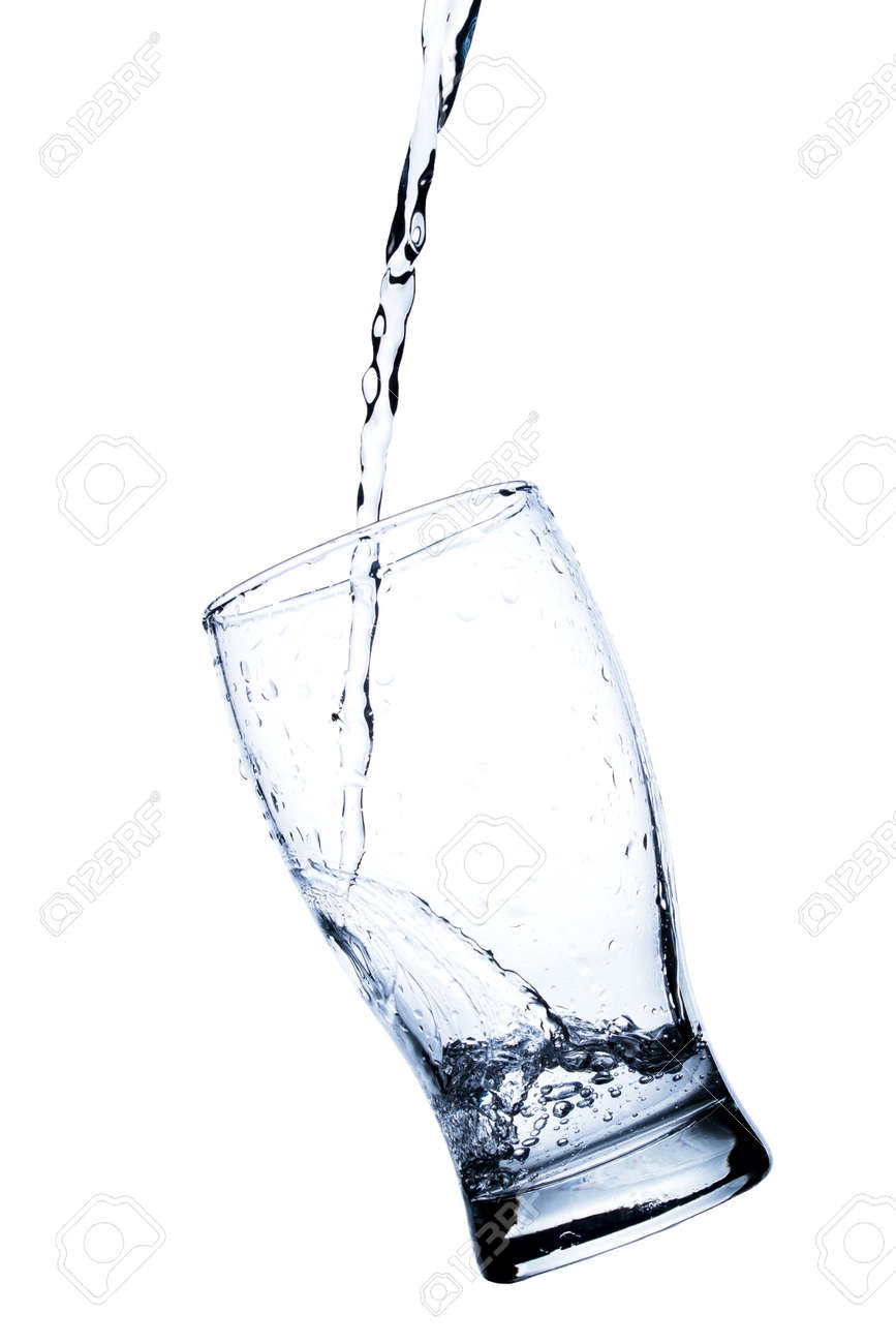 Water splashes in a transparent glass isolated on a white background - 152537248