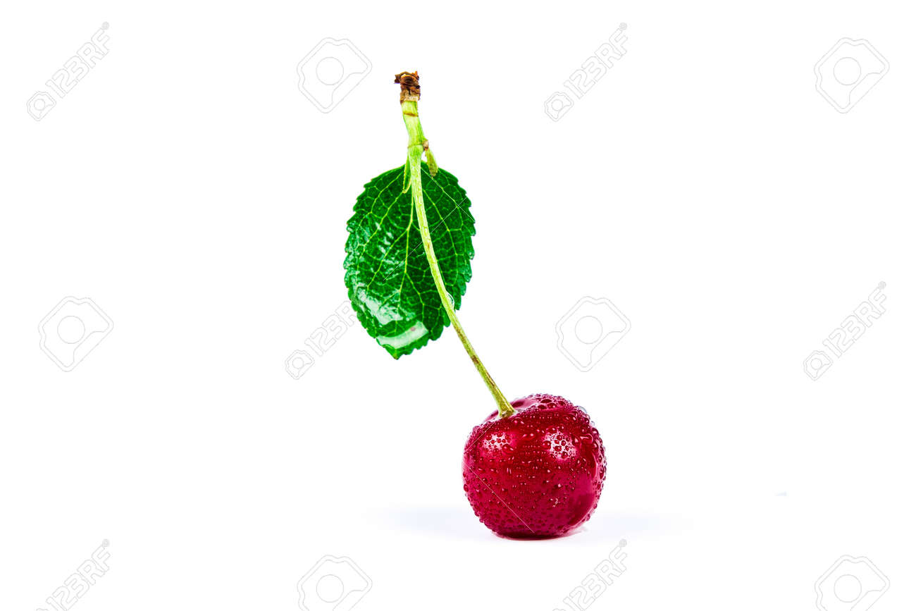 Cherry berry with green leaf in water drops isolated on white background - 152811675