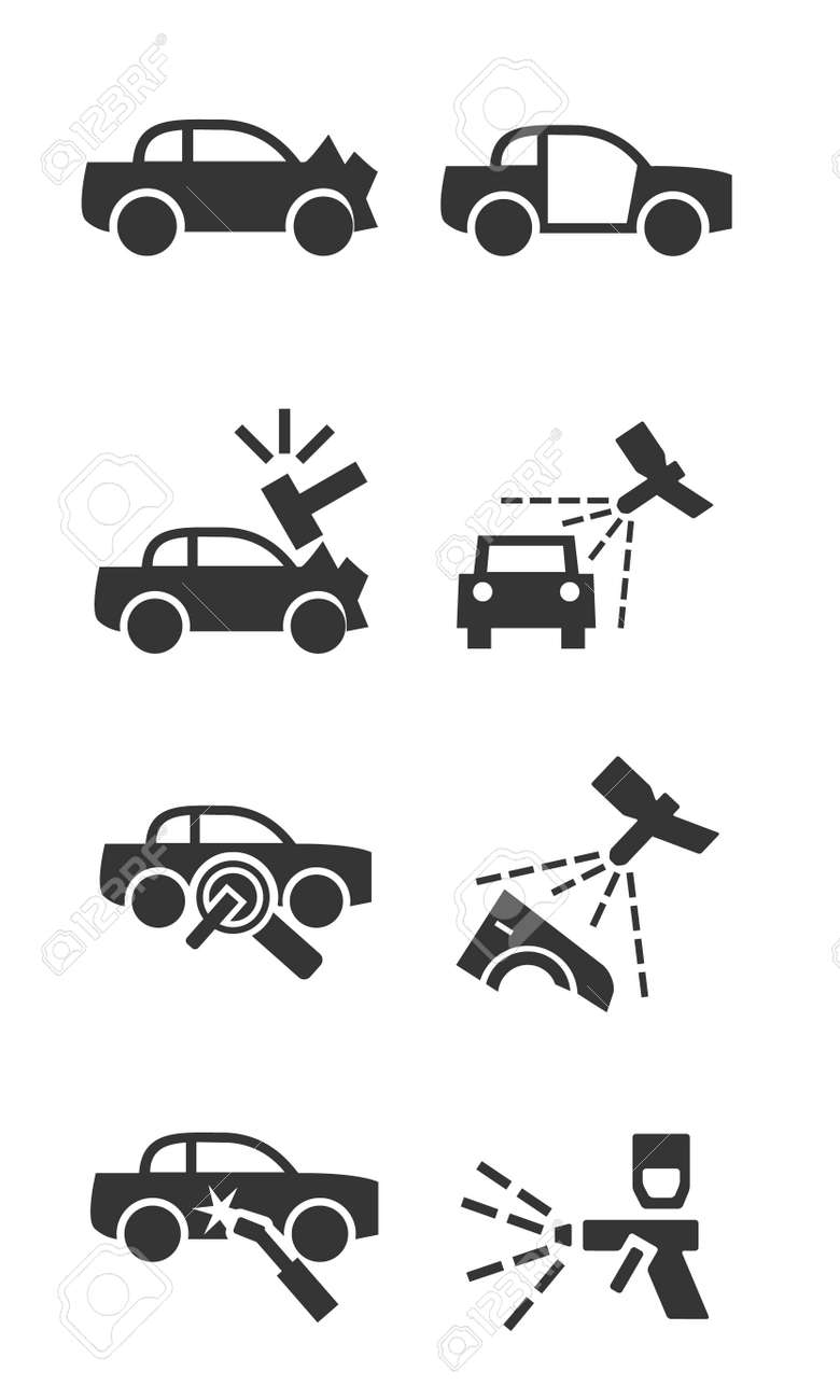 Car Body Shop Icon Set Royalty Free Cliparts Vectors And Stock
