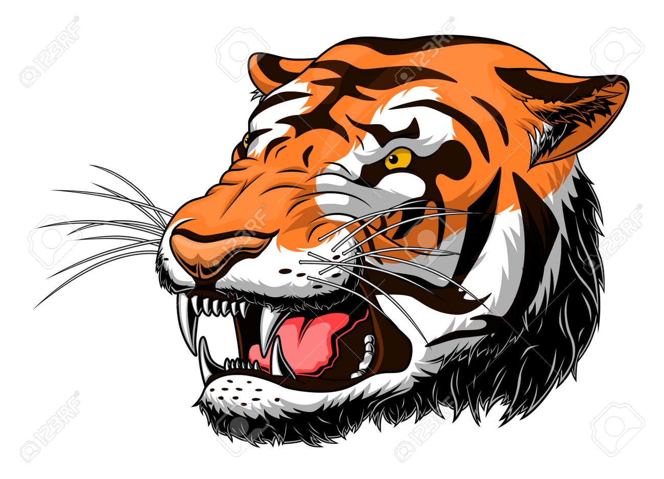 Stylized roaring tiger head - 121100482