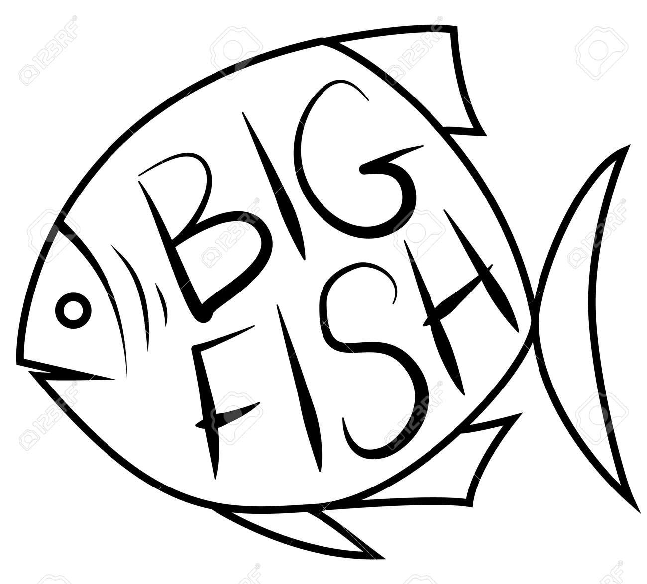 Big Fish Background For Text Fish Frame Vector Illustration