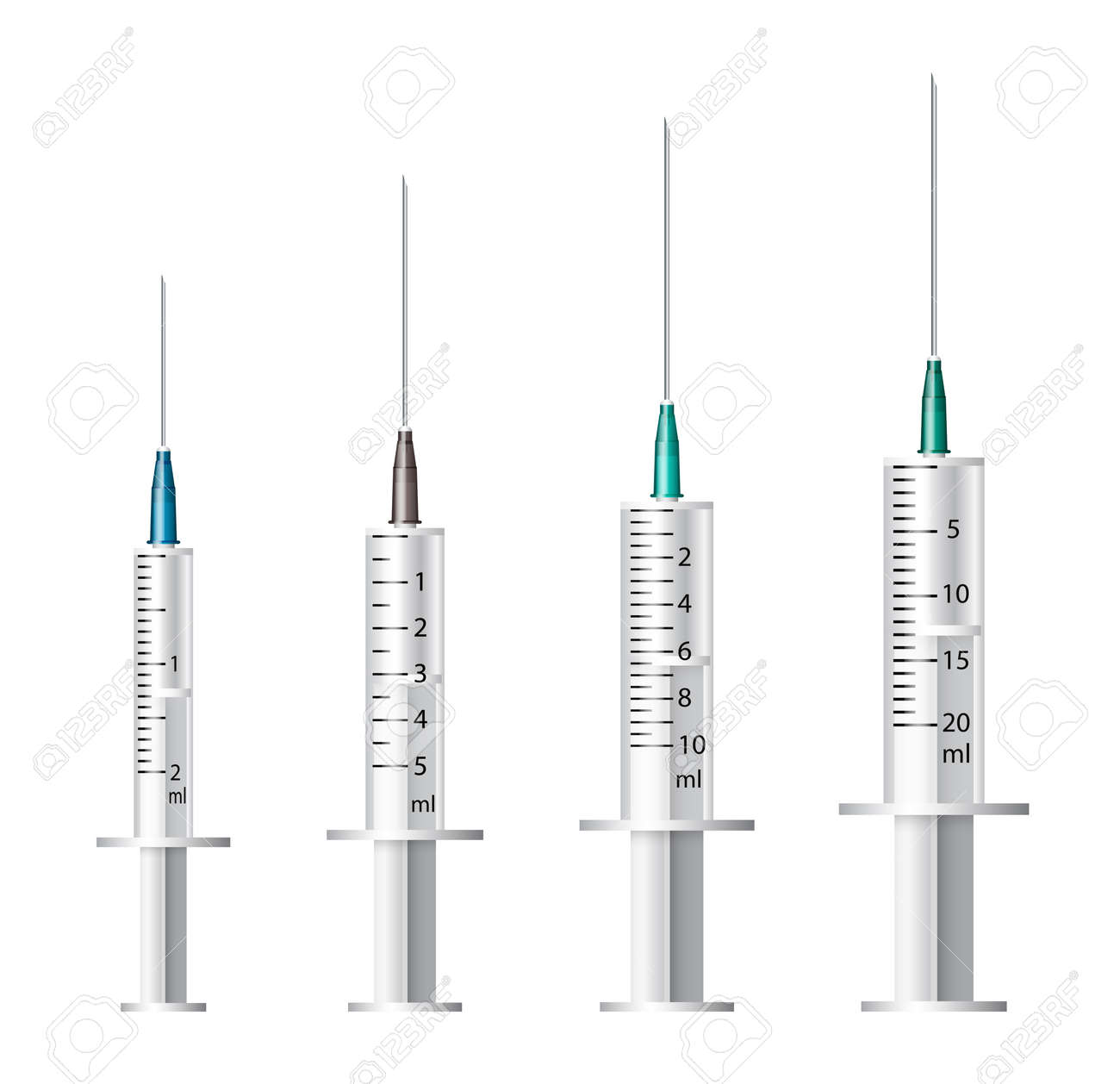 Medical syringe  Set of disposable plastic syringes of different