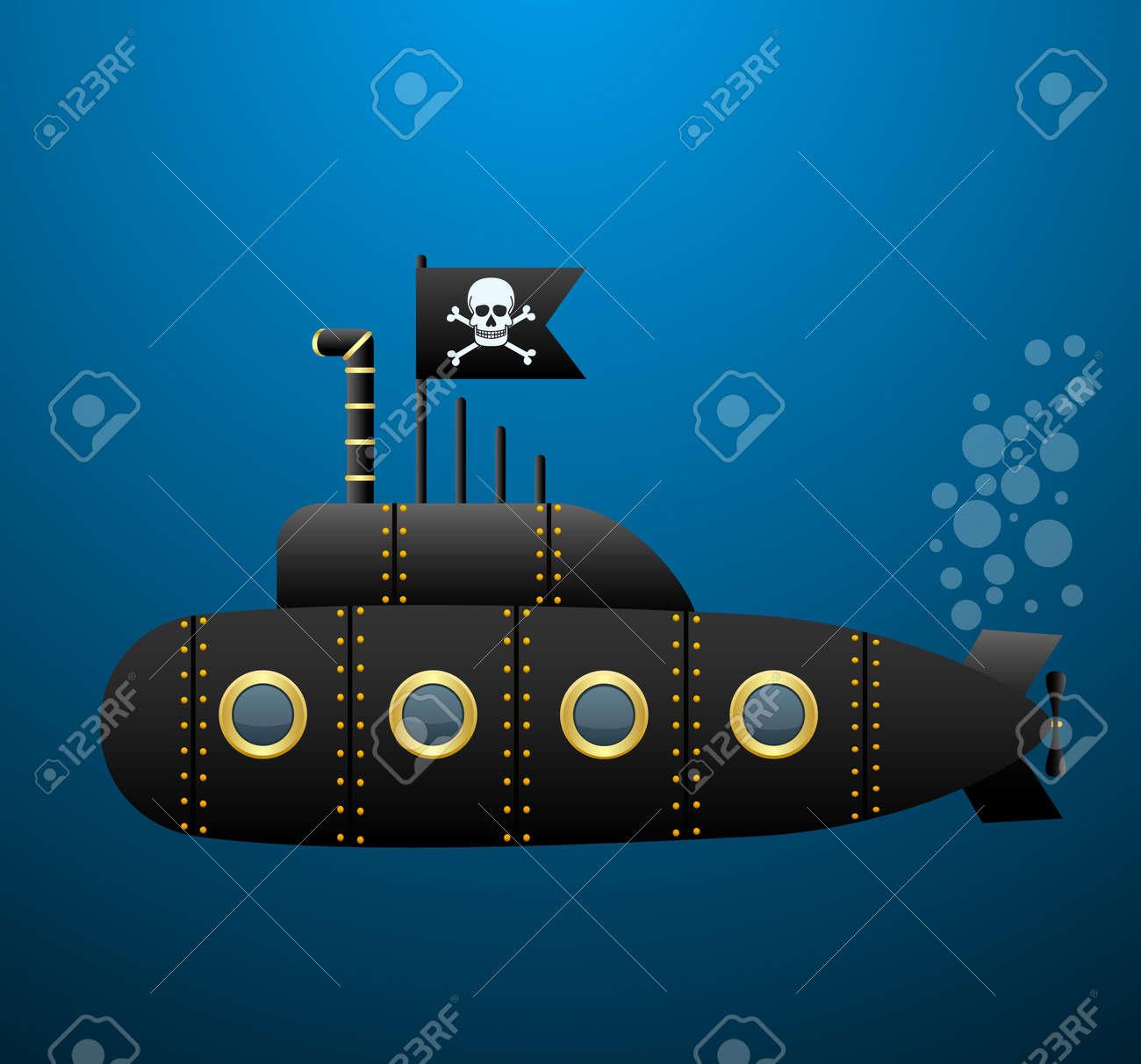 Kleurplaten Piraten Vlaggen.Zwarte Piraat Onderzeeer Onder Het Water Jolly Roger Vlag Cartoon Stijl Vector Afbeelding