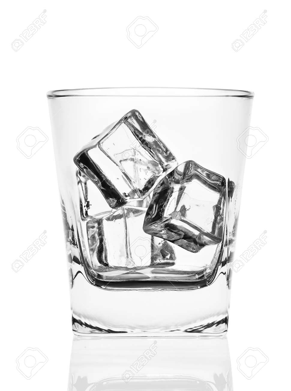 Glass Of Ice Cubes Isolated On White Background Stock Photo Picture