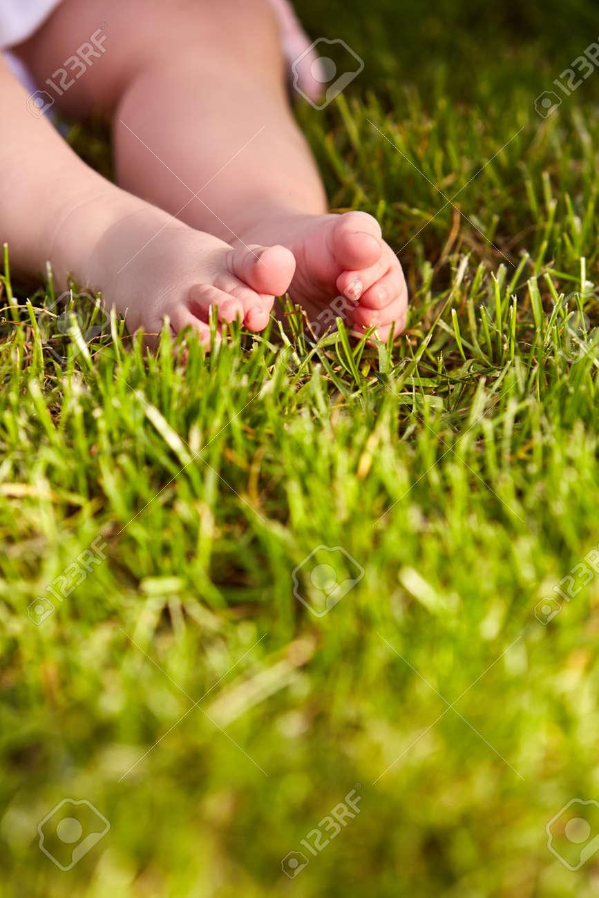 Primer Plano De Las Pequeñas Piernas De Bebé Sobre Un Césped Verde ...