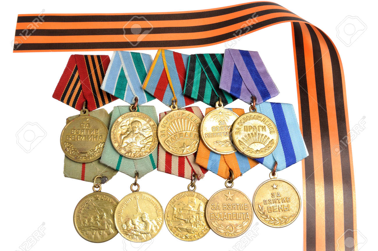Military soviet medals of Great Patriotic war with Saint George