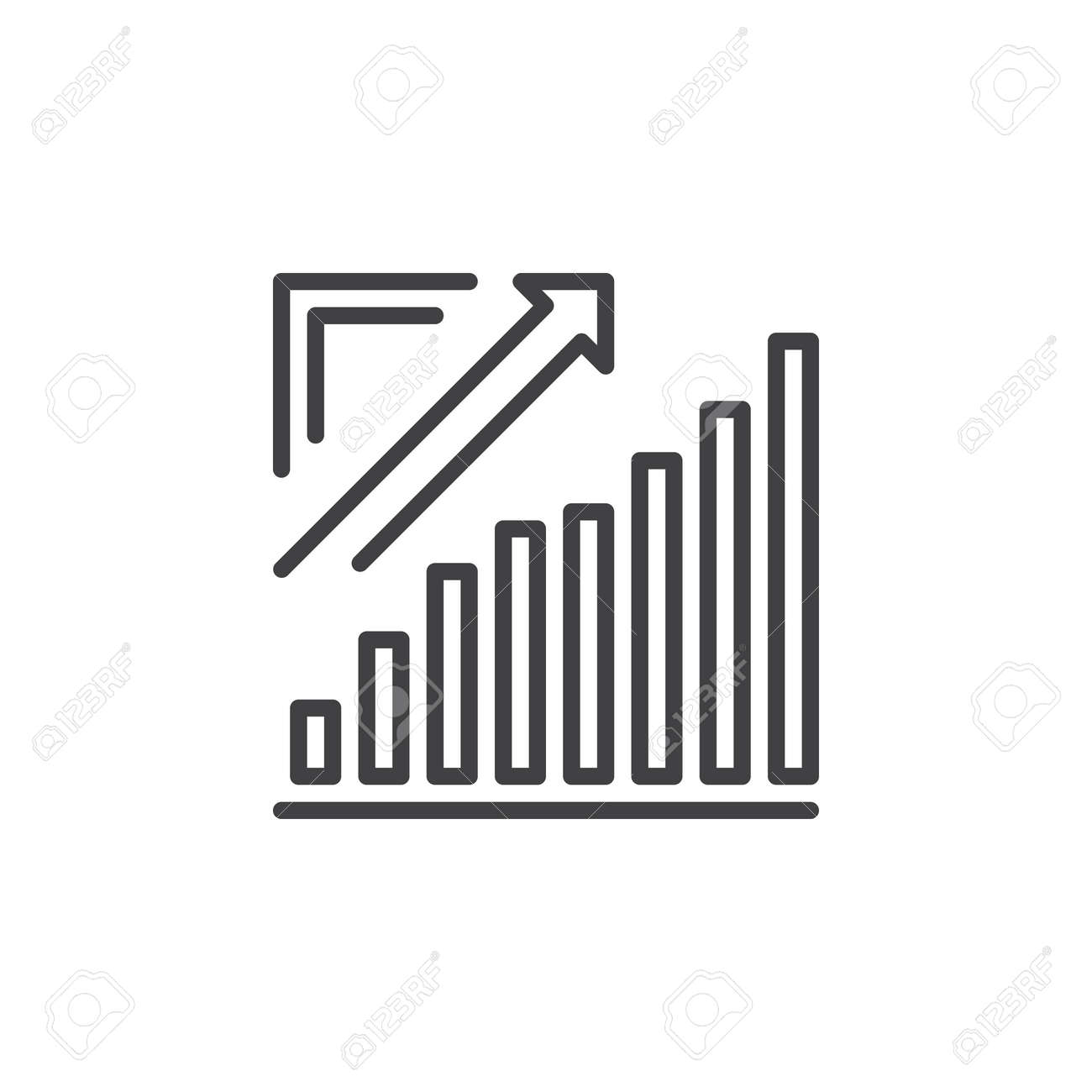 growing chart, arrow graph going up line icon, outline vector