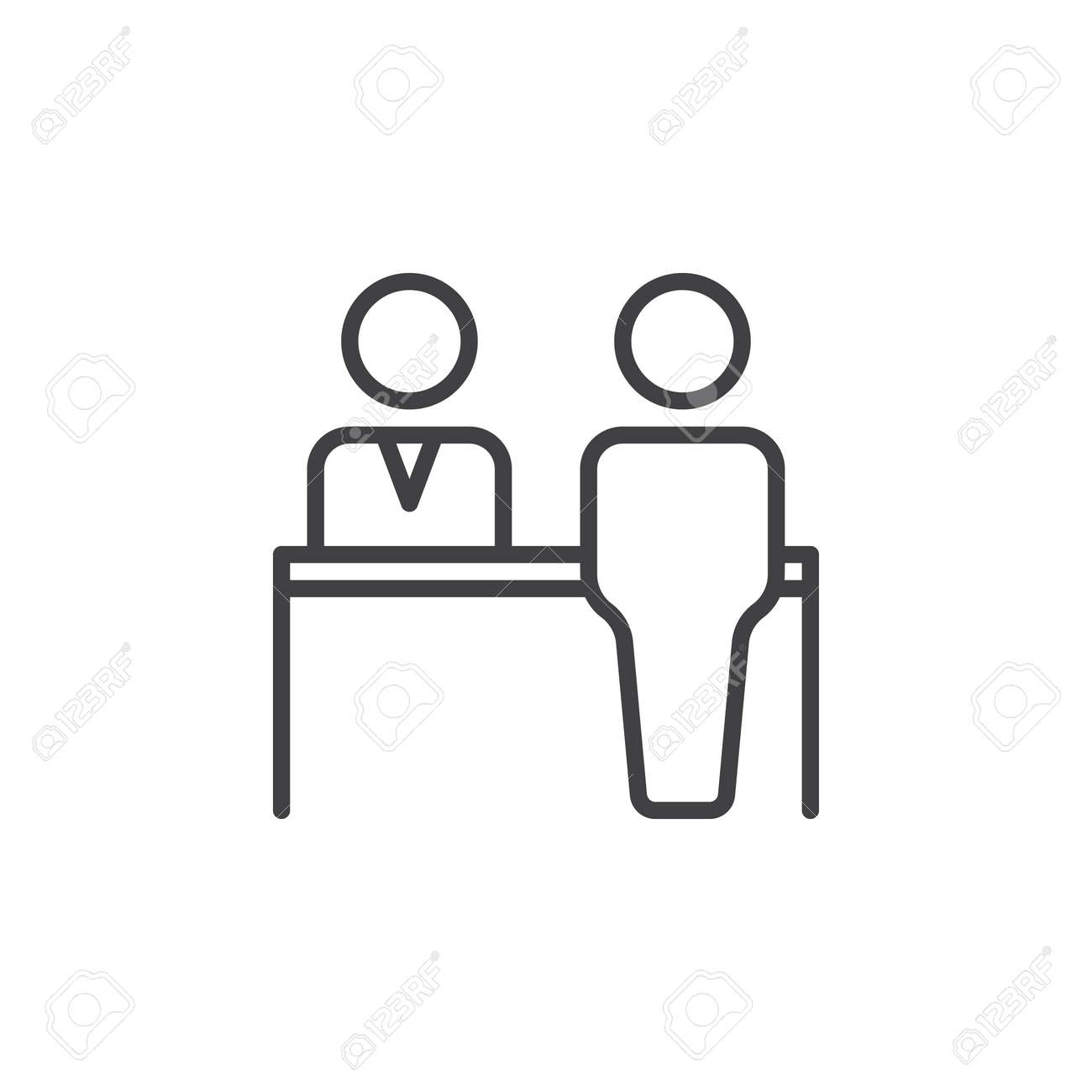 Reception Line Icon Outline Vector Sign Linear Pictogram Isolated