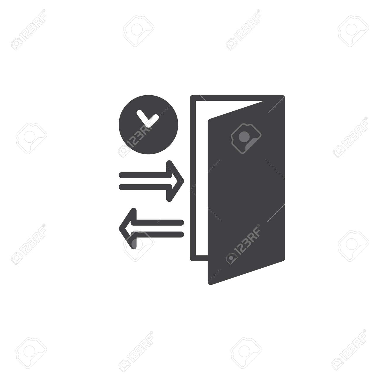 Check In Check Out Icon Vector Filled Flat Sign Solid Pictogram
