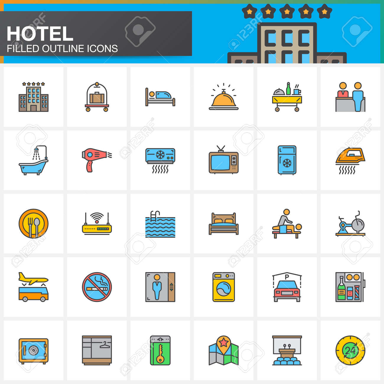 Hotel Services And Facilities Line Icons Set Filled Outline Vector Symbol Collection Linear Colorful