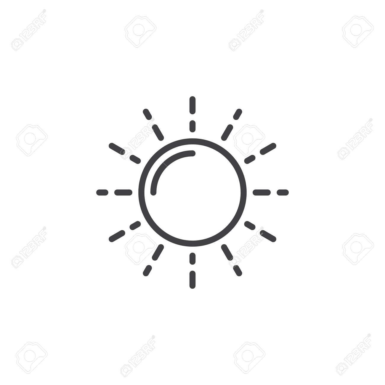 Sun Line Icon Outline Vector Sign Linear Pictogram Isolated