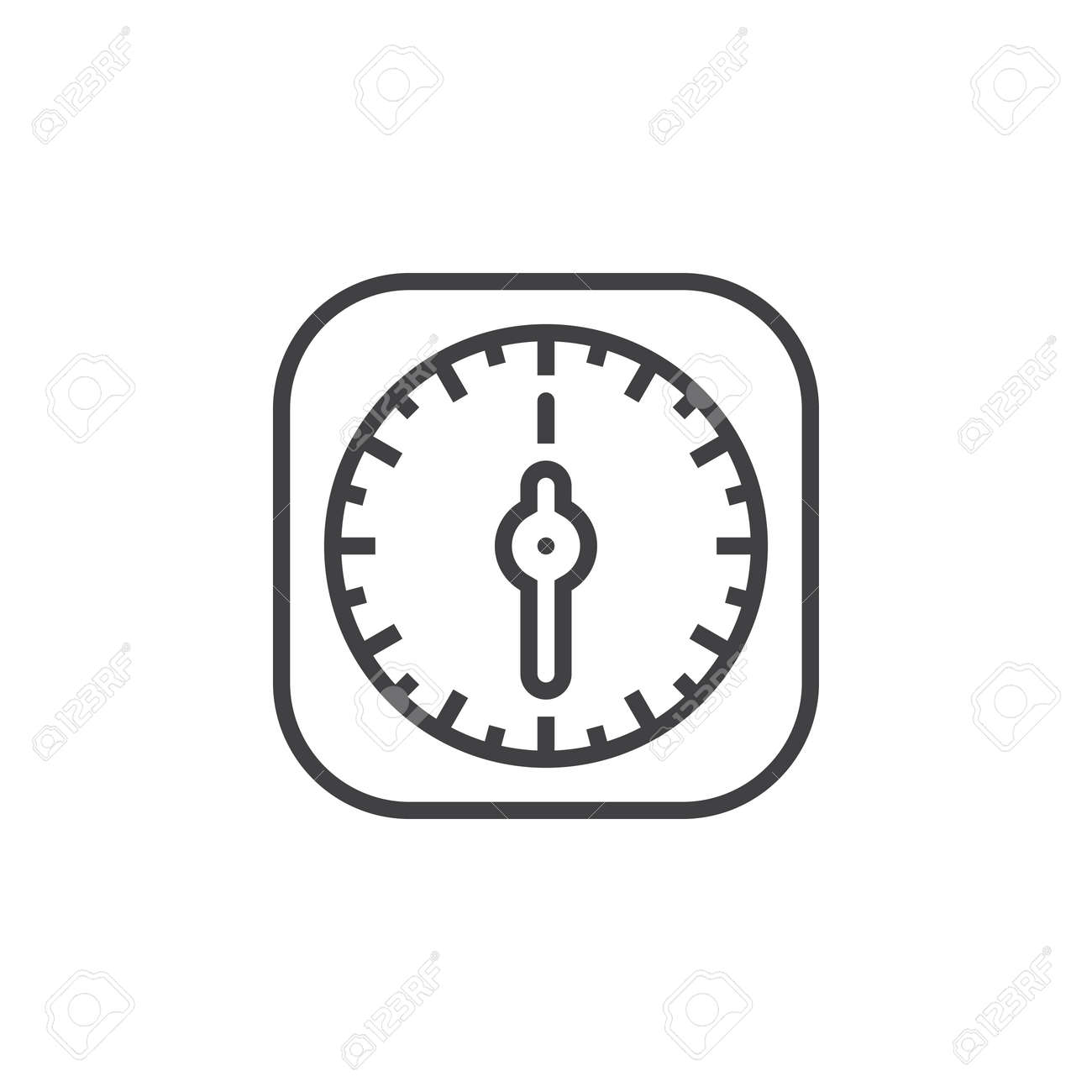 Kitchen Timer Line Icon, Outline Vector Sign, Linear Pictogram ...
