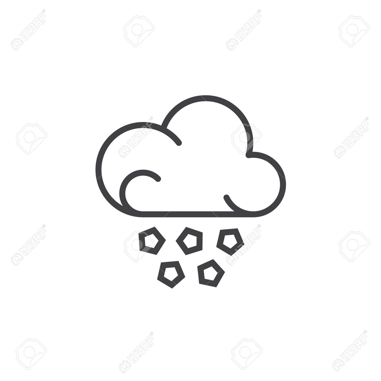 hail cloud line icon, outline vector sign, linear pictogram isolated Hail Clip Art