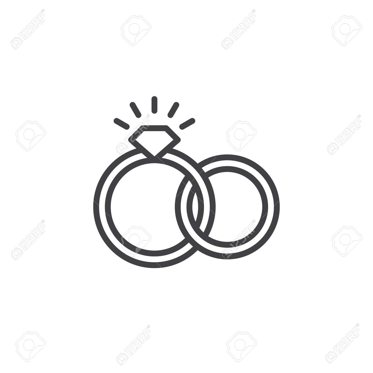 Engagement Wedding Rings Line Icon Outline Vector Sign Linear