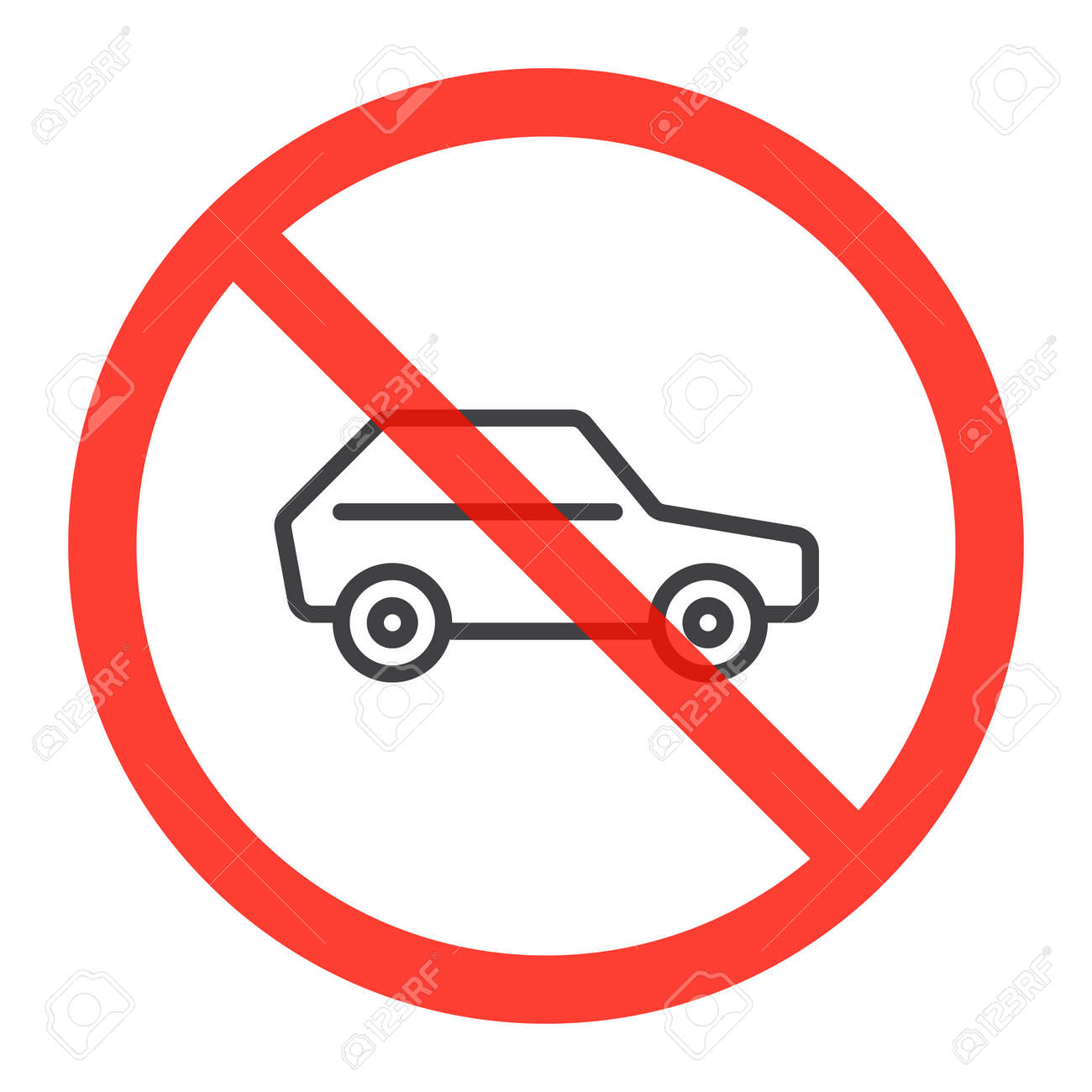 Car Line Icon In Prohibition Red Circle No Parking Ban Sign