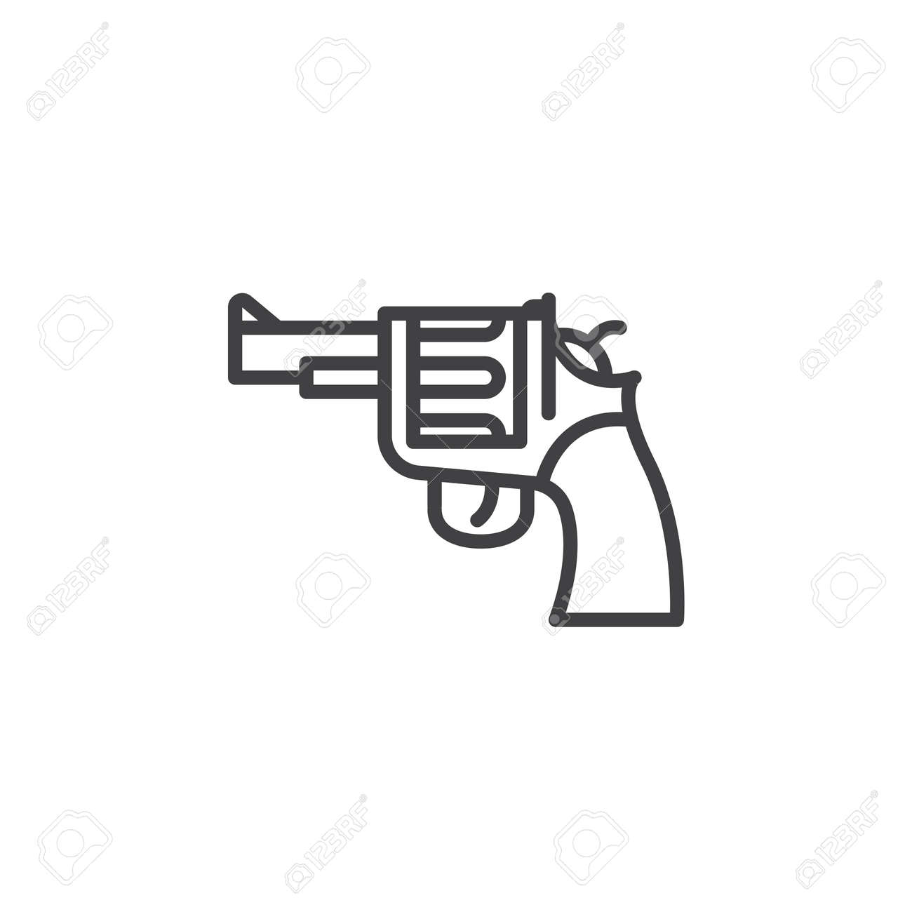 Gun revolver line icon outline vector sign linear pictogram gun revolver line icon outline vector sign linear pictogram isolated on white biocorpaavc Images
